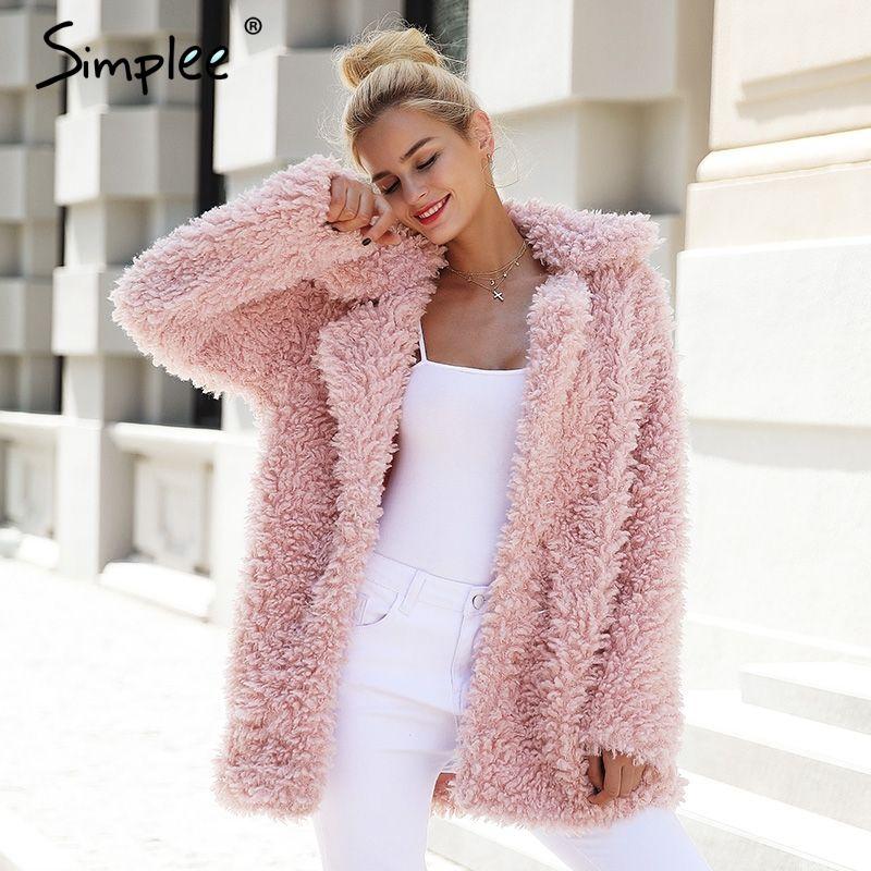 Simplee Warm winter faux fur coat women Fashion streetwear large sizes long coat female <font><b>2017</b></font> Pink casual autumn coat outerwear