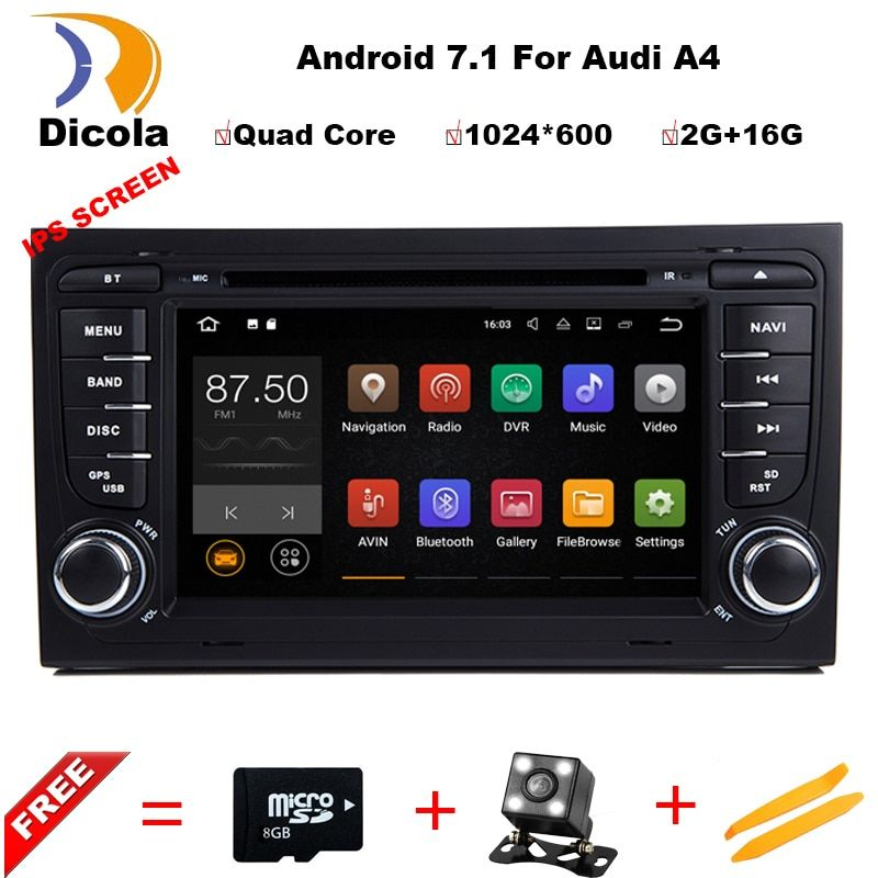 Quad Core 7 inch Android 7.1 Car DVD Player For Audi A4 2003-2008 Touchscreen Audio Bluetooth In Dash Car Stereo GPS Navigation
