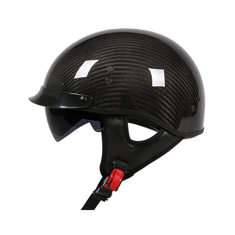 VCOROS carbon fiber Harley motorcycle helmet with inner sun visor lens half face vintage moto helmets open face motorbike helme