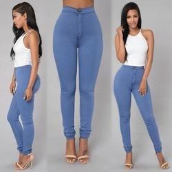 2018 Lavage Solide Skinny Jeans Femme Taille Haute d'hiver Denim Pantalon plus la Taille Push Up Pantalon Moulante chaud Crayon Pantalon Femelle 15