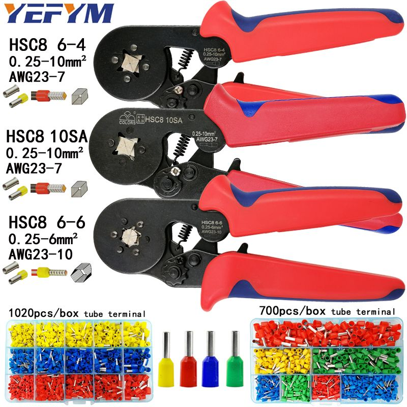HSC8 6-4/10 s pince à sertir 0.25-10mm2 23-7AWG HSC8 6-6 pour tube terminal boîte de marque mini type nez rond européen pinces outils