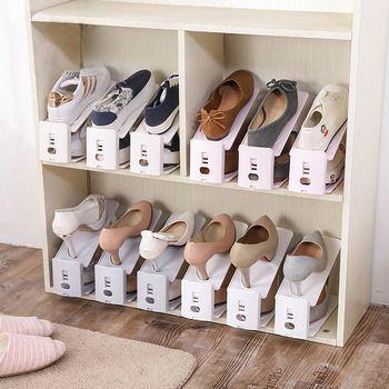 Nouvelle Chaussure Racks En Plastique Double Porte-Chaussures Chaussures De Stockage Rack Salon Pratique Boîte À Chaussures Chaussures Organisateur Stand Plateau