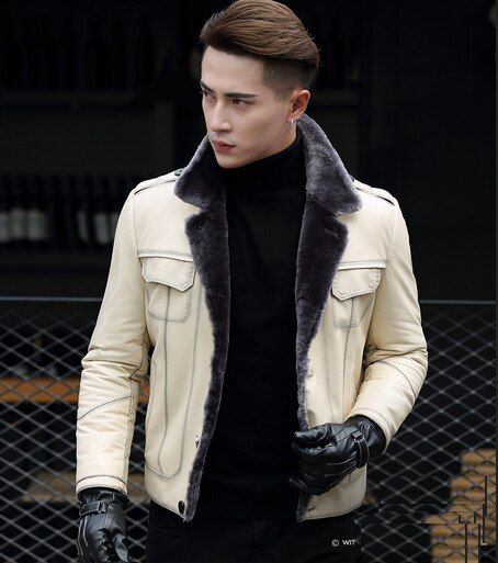 New Brand Men's Genuine Real Sheepskin Leather with Natural Wool Lined Coat Jackets Motorcycle White Black Plus Size XXXXL 3XL