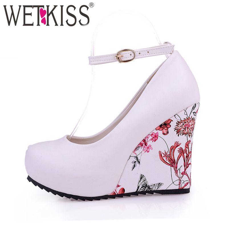 WETKISS mode bride à la cheville haute compensées plate-forme pompes décontracté élégant fleur imprimé cales plate-forme chaussures mary jane