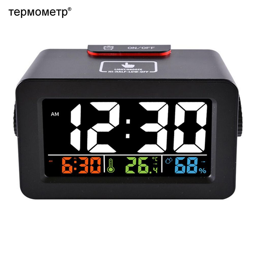 Gift Idea Bedside Wake Up Digital Alarm Clock with <font><b>Thermometer</b></font> Hygrometer Humidity Temperature Table Desk Clock Phone Charger
