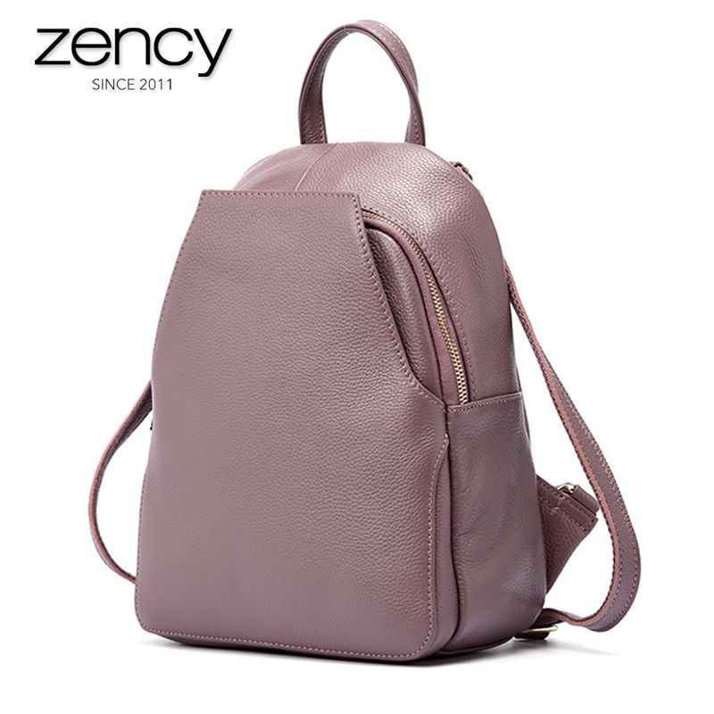 Zency Women's Genuine Leather Backpacks Ladies Fashion Travel Bags Female Multifunctional Pocket Laptop Daily Holiday Knapsack