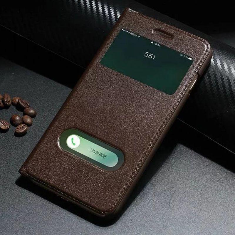 Couverture de téléphone de style livre de fenêtre intelligente pour Apple iPhone 7 8 Plus étui en cuir véritable Yak pour iPhone7 étui de protection à rabat