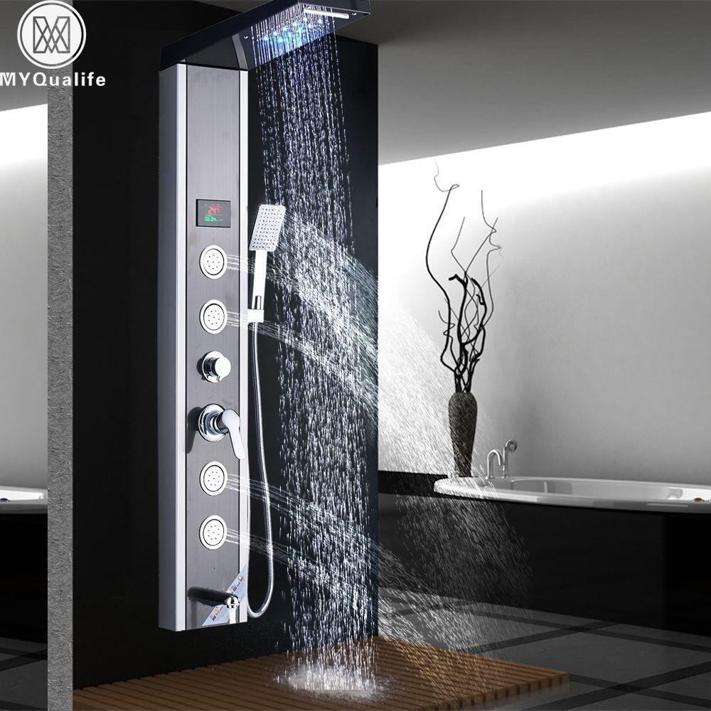 LED Light Shower Column Bathroom Shower Panel Rotate Body Massage Jet Waterfall Rain Shower Faucet Digital Screen Shower Mixers