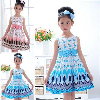Enfants Filles paon mignon couleur sans manches robe de princesse cercle de Mode Coréenne Bleu enfants vêtements Nouveau