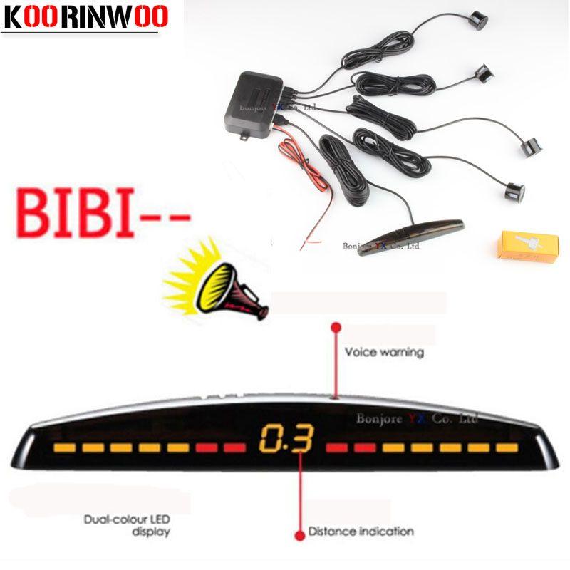 Koorinwoo afficheur de LED capteurs de stationnement de voiture 4 Radars Automobile Jalousie Parkmaster détecteur de voiture alarme Parktronic noir blanc gris