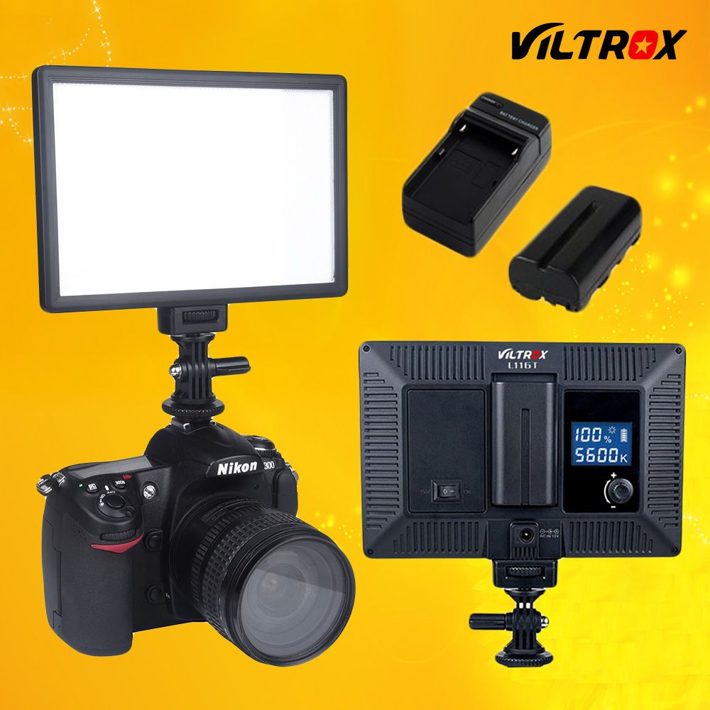 <font><b>Viltrox</b></font> L116T LCD Display Bi-Color & Dimmable Slim DSLR Video LED Light + Battery + Charger for Canon Nikon Camera DV Camcorder