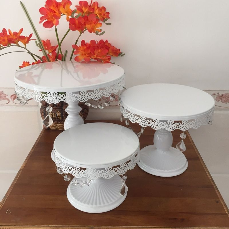 white cake stand metal iron crystal pendant cupcake stand wedding party decoration supplier baking cake accessory tools