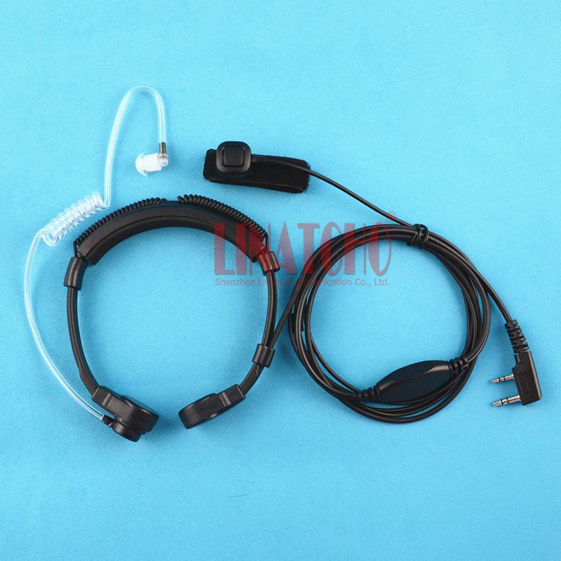 flexible neck control walkie talkie throat mic clear air tube earphone finger PTT for baofeng BF-UV5R WOUXUN radio