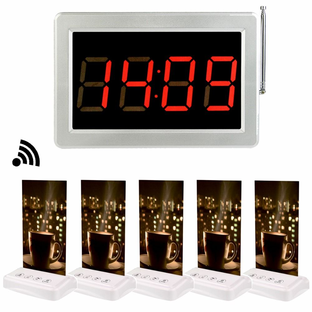 1pcs 433MHz Receiver Host +5pcs Call Transmitter Button Pager with Table Card Wireless Restaurant Coffee Shop Calling System