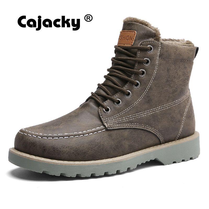 Cajacky Hombres de Invierno Con Botas de Piel 39-44 High Top Caliente zapatillas de Felpa Botines Impermeables Botas de Nieve Zapatos de Moda Masculina Botas