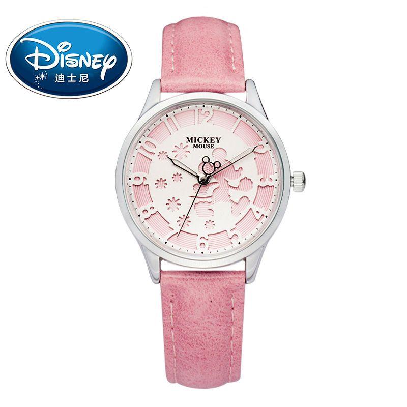 Disney Kids часы модные милые Кварцевые наручные часы женские часы Водонепроницаемый Микки Мыши для детей кожа часы