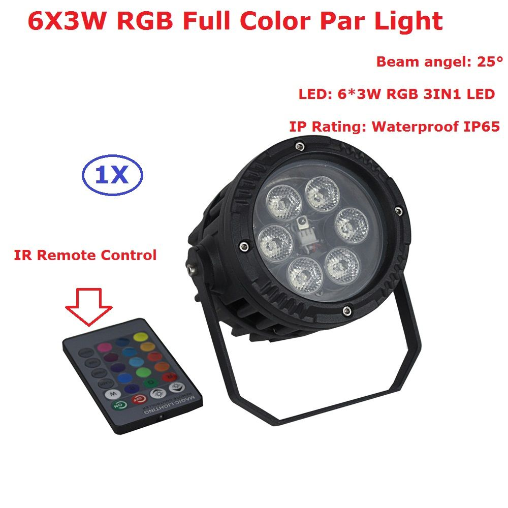 EU US Plug Superior Waterproof Par Lights 6X3W RGB Full Color LED Par Light With Remote Control For Party Wedding Christmas
