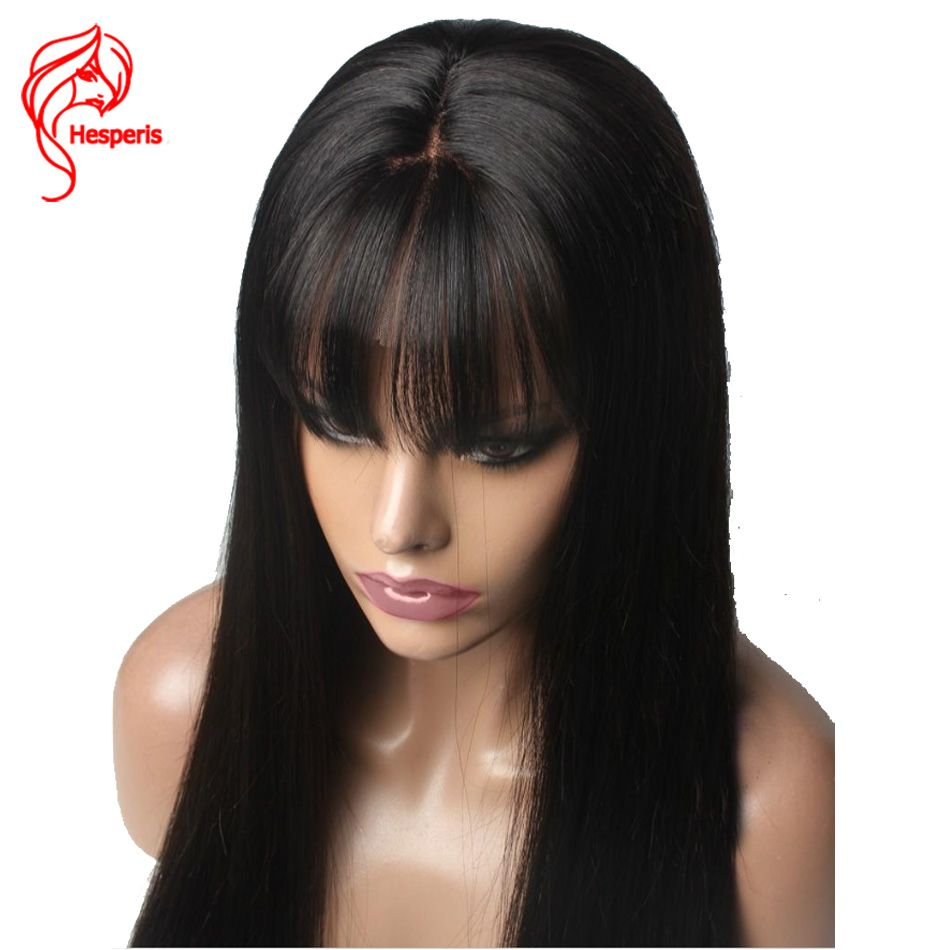 Hesperis Human Hair Lace Front Wig With Bang Silk Straight Brazilian Remy Hair Deep Part 13X6 Lace Front Wigs Pre-Plucked