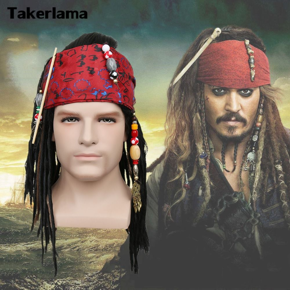 Takerlama Pirates of The Caribbean Pirate Captain Wig Exact Wig Bandana Dreadlock DLX Jack Sparrow Wig Hat Cosplay Costume