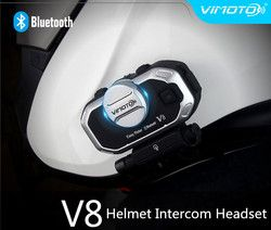 Vimoto V8 Motorcycle Helmet Intercom Bluetooth Headset Motorbike BT Interphone simultaneously Connect 2 Bluetooth High-fidelity