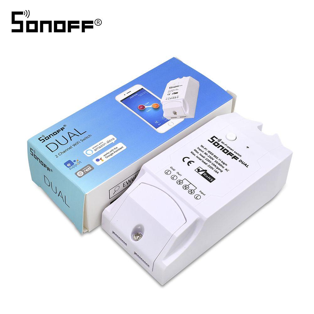 Itead Sonoff double 2ch 16A 3500W Wifi interrupteur intelligent lumière minuterie à distance sans fil 2 Gang contrôle fonctionne avec Amazon Alexa Google Home