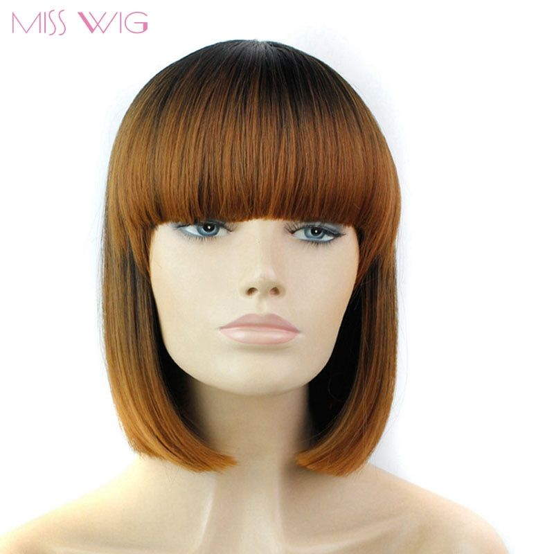 MISS WIG 12 Inch Short Straight Bob Wigs for Black Women Brown Color Wig Synthetic Wigs 200g
