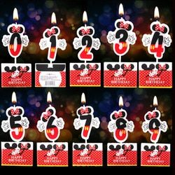 Vela de cumpleaños Mickey Minnie vela 0 4 5 6 7 8 9 Aniversario cake números edad Candle party supplies Decoración