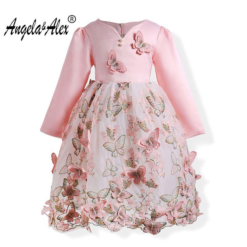 Анжела и Алекс платье принцессы для девочек с длинным рукавом атласная бальное платье 3D бабочка Вышивка праздничная одежда детская повседн...