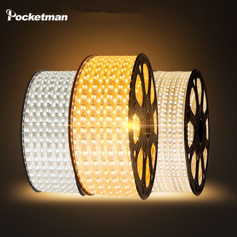 LED strip Waterproof SMD 5050 AC220V 1M 2M 3M 5M 6M 8M 9M 10M 15M 25M led stripe 5050 220V Light With EU Power Plug