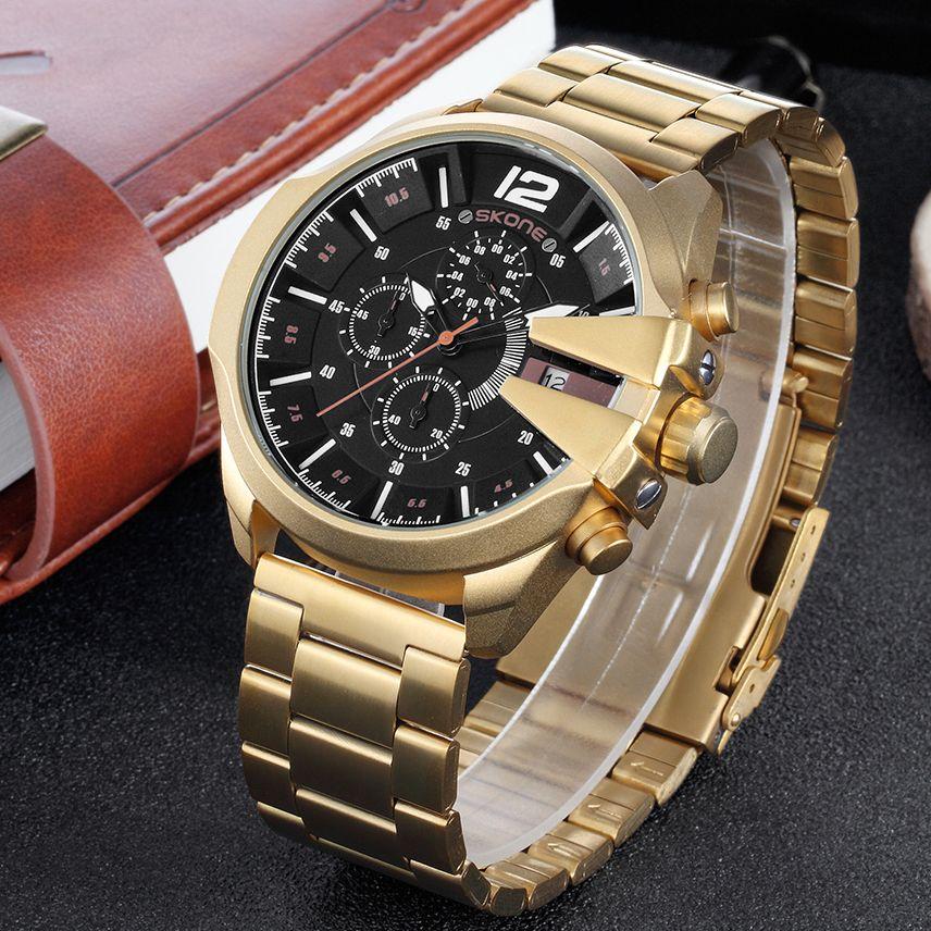 SKONE Stainless Steel Gold Quartz Watches Military Sport Wristwatch Chronograph Men Luxury Brand Watch Casual Male Clock Top