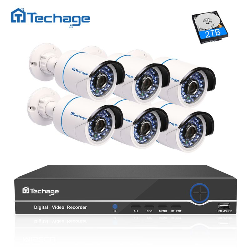 Techage 8CH 1080P NVR Kit POE CCTV System 6PCS Outdoor IP66 Waterproof POE IP Camera P2P Onvif Email Alert Surveillance Set