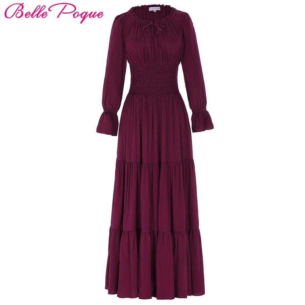 Belle Poque 2017 Médiévale Robe Coton Longue Maxi Robes Robes Victorienne Gothique Lo Vintage Manches Longues Renaissance Robe Femmes