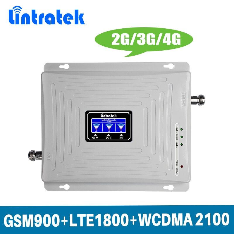 Lintratek LCD Display 2g 3g 4g Tri Band Signal Booster GSM 900/DCS LTE 1800/ WCDMA UMTS 2100 mhz Mobile Signal Repeater Verstärker