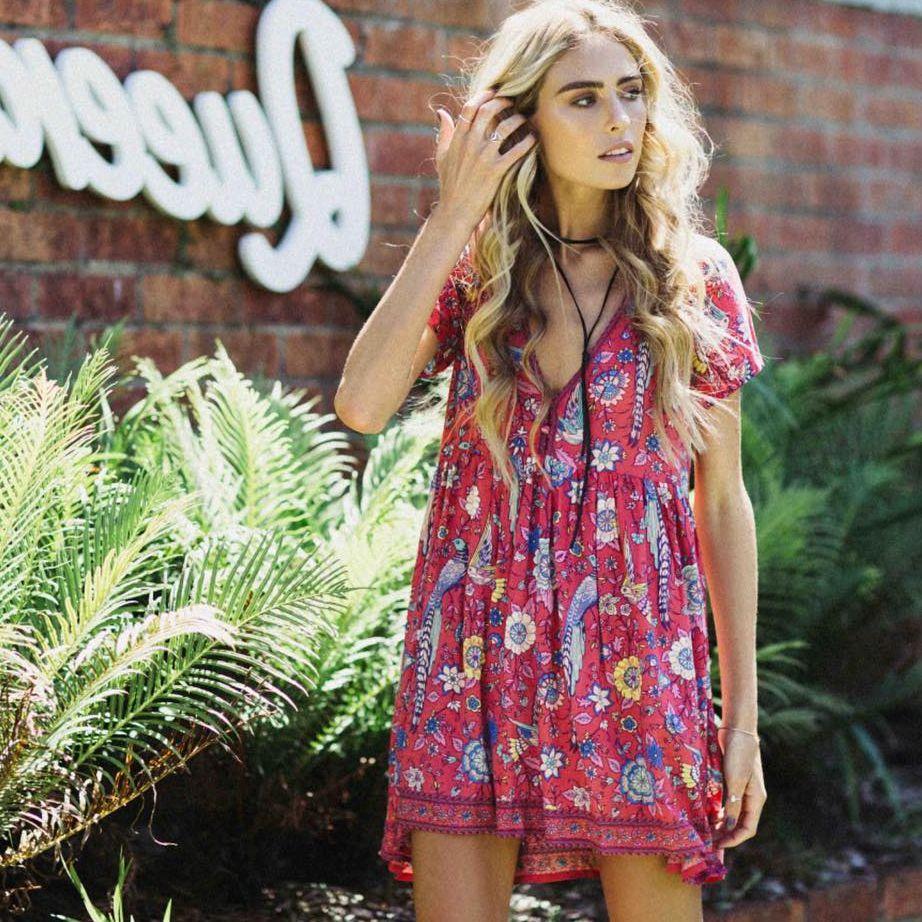 Imprimé Floral bohème Mini robe été courte profonde col en v Sexy mousseline de soie Hippie Chic Style Vintage vacances plage robes femmes