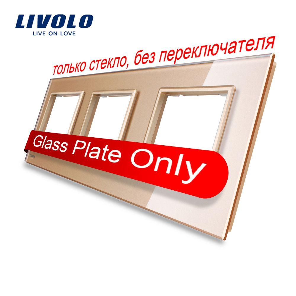 Free Shipping, Livolo Luxury Golden Pearl Crystal Glass, EU standard, Triple Glass Panel For Wall Touch <font><b>Switch</b></font>,VL-C7-SR/SR/SR-13