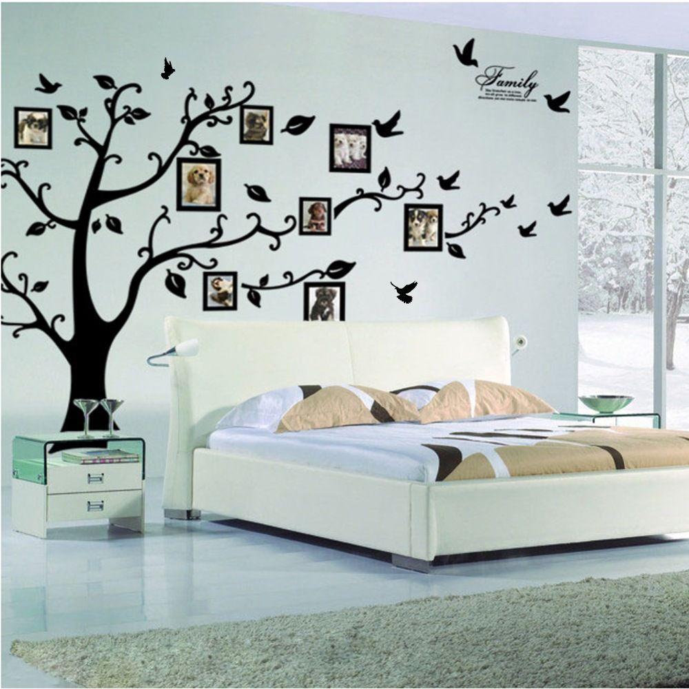 Livraison Gratuite: grand 200*250 cm/79 * 99in Noir 3D DIY Photo Arbre PVC Stickers Muraux/Adhésif Famille stickers muraux Art Mural Home Decor