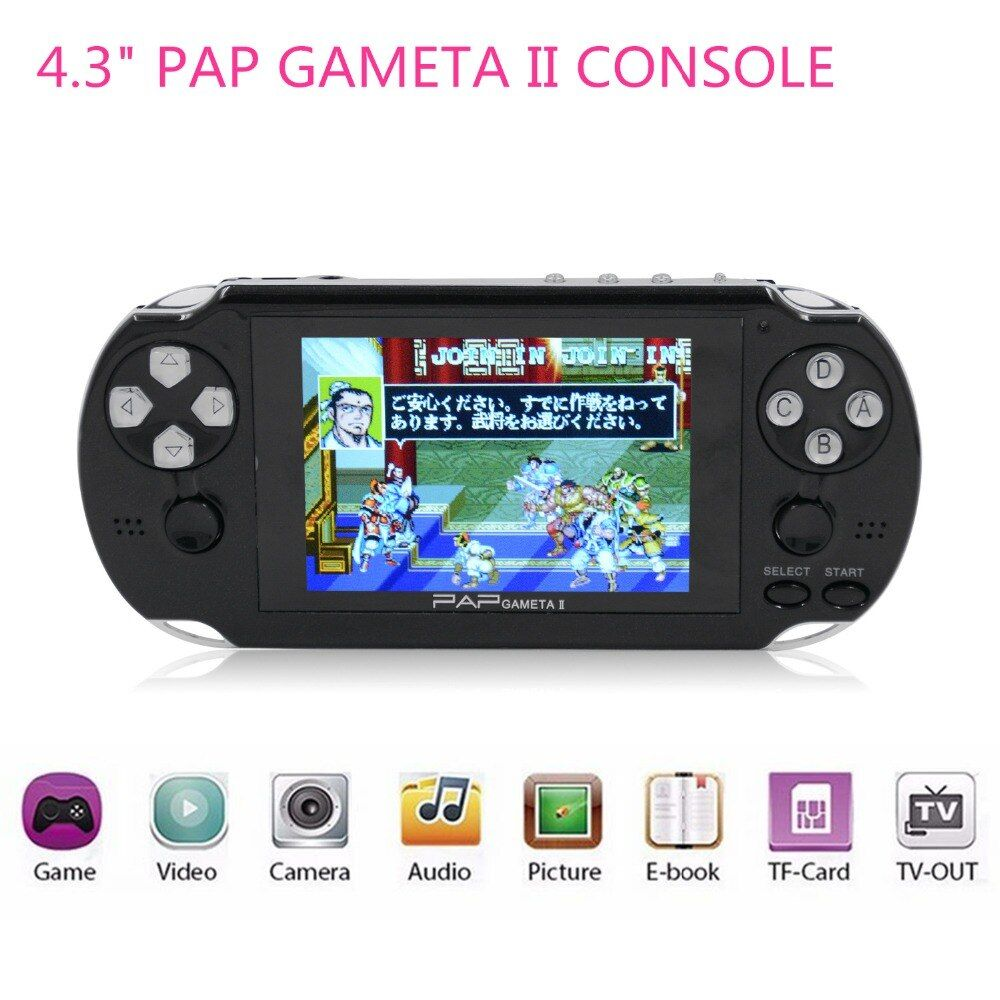 New 4.3 PAP Gameta II 64 Bit Handheld Game Console Portable Game Player with 600 Games <font><b>Built</b></font> in Birthday Gifts for boy kids