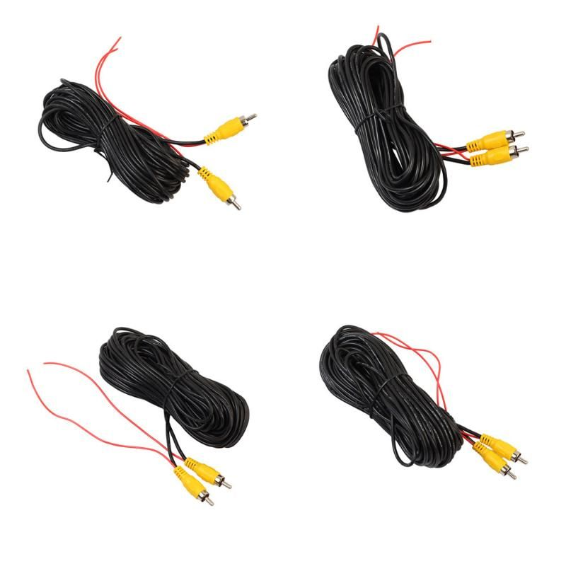 VODOOL 4 Sizes RCA Video Cable Car Reverse Rear View Parking Camera Video Cable for Universal Cars Audio Impedance Converter