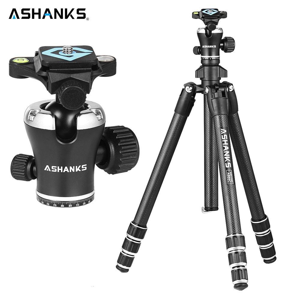 ASHANKS A666C Carbon Camera Tripod 8KG 55.1''/140cm Professional Video Tripod with Dslr VIDEO Tripod Ball Head for Photography