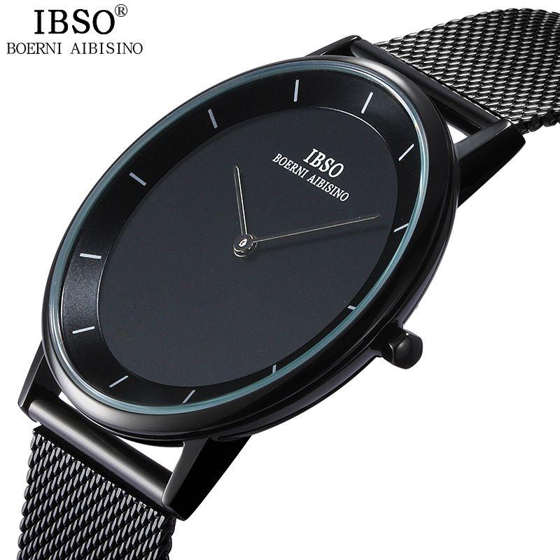 IBSO бренд 7 мм ультратонкий кварцевые наручные часы Нержавеющая Сталь сетка ремень Для Мужские часы лучший бренд класса люкс Мода 2017 Relogio ...