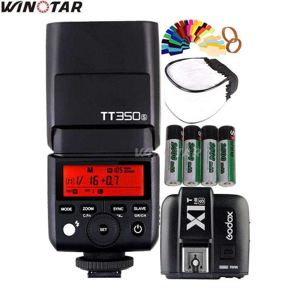 Godox Mini Speedlite TT350S Kamera Flash TTL HSS + X1T-S Trigger + 2x2500 mAh Batterie für Sony A77II A7RII A7R A7000 A6500 A6300