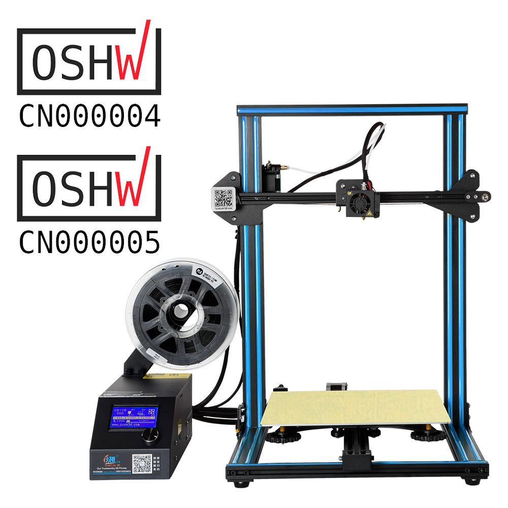 Große Verkäufe Creality 3D Drucker Volle Metall Rahmen CR-10S Drucker Filament Erkennen Lebenslauf Print Power Off Optional Mit Dual Z stange