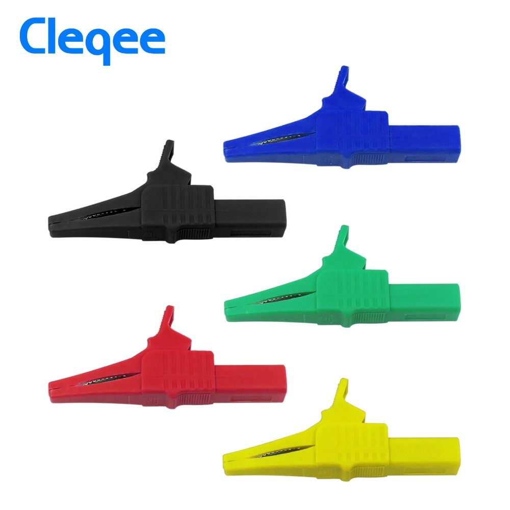Cleqee P2003 5PCS 5 Color 32A 1000V Crocodile Alligator Folders Safety Test Clips For 4mm Shrouded Banana Plug Copper