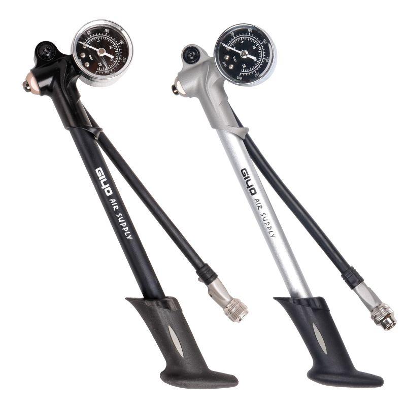 GIYO 300PSI gonfleur d'alimentation en Air pompe à vélo pour gonfler le choc de fourche convient Schrader avec psi/bar jauge purgeur tuyau pliable GS02D