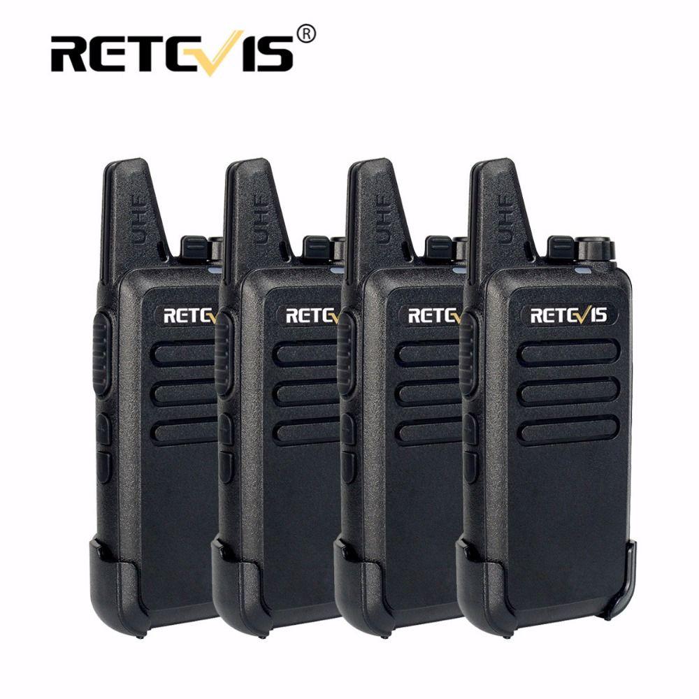 4pcs Retevis RT22 Mini Walkie Talkie Radio 2W 16CH 1000mAh UHF VOX Amateur Radio Hf Transceiver Handy 2 Way Radio Comunicador