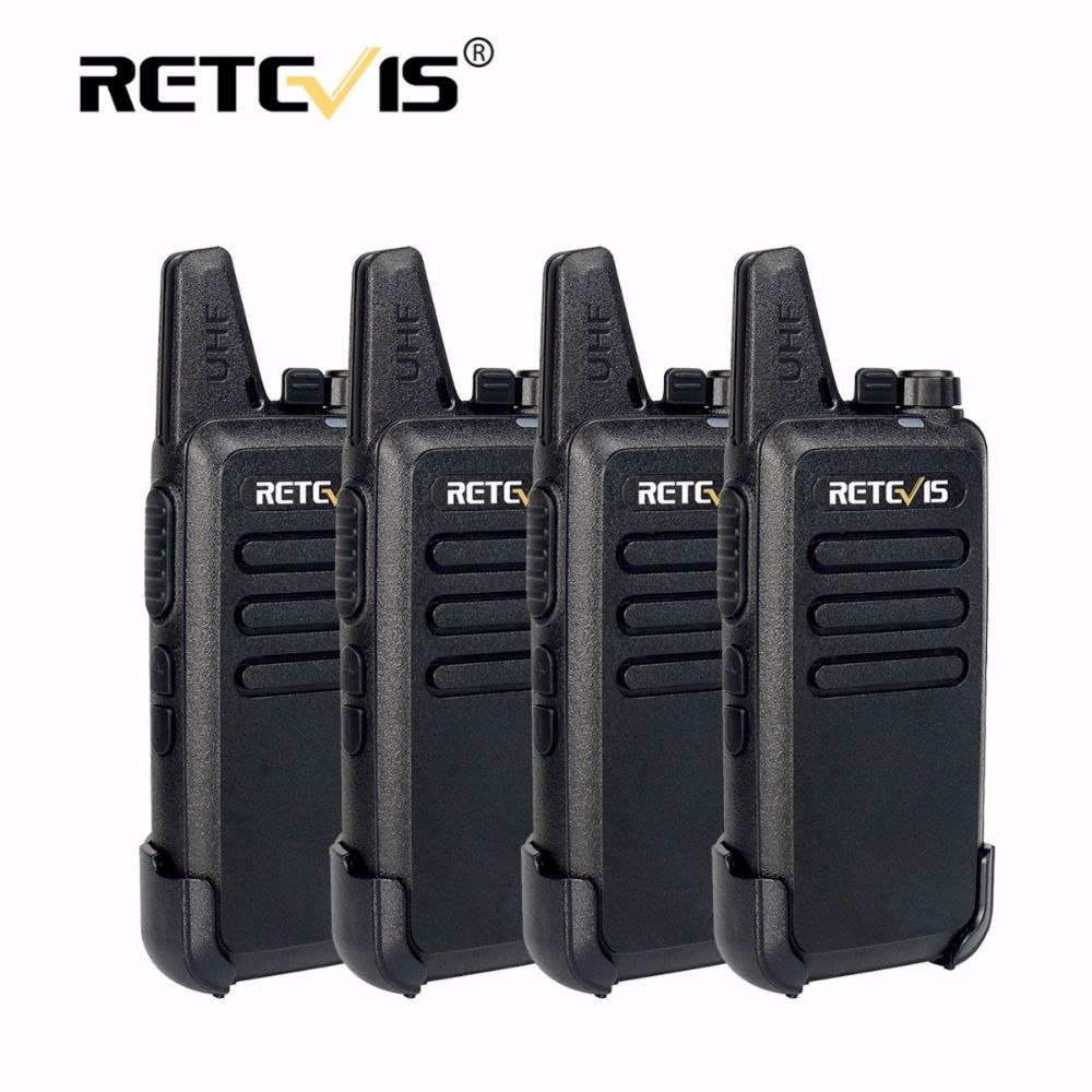 4pcs Retevis RT22 Mini Walkie Talkie Radio 2W 16CH 1000mAh UHF VOX Amateur Radio Hf Transceiver Handy 2 Way Radio Comunicador