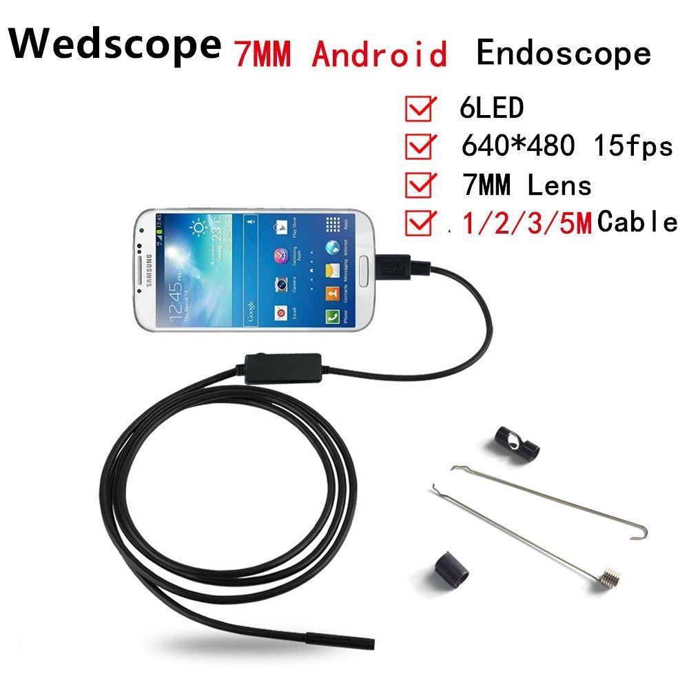 Wedscope Endoscopio 7 MM 1 M/2 M/3 M/5 M 6LED USB Impermeable Endoscopio Android boroscopio Serpiente Del Tubo de Cámara 7mm Lente Del Endoscopio de La Cámara