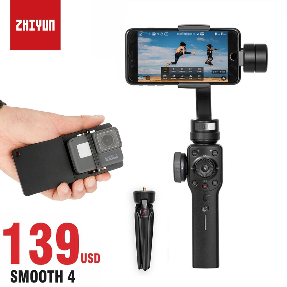 Zhiyun Smooth 4 Smartphone Gimbal Stabilizer for iPhone Samsung s8, Handheld 3 Axis Gimbal for Gopro 5 6 4 VS Smooth Q DJI osmo
