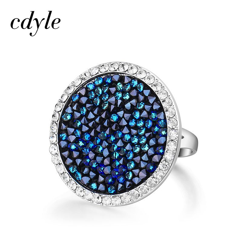 Cdyle Crystals From Swarovski Luxury Ring Austrian Rhinestone Fashion Romantic Anniversary Engagement Women Jewelry Blue Wedding