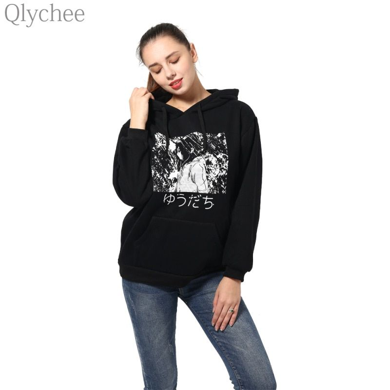 Qlychee BF Style Winter Black Women Hoodies Long Sleeve Japanese Manga Comics Print Sweatshirt Anime Pattern Loose Hoodies